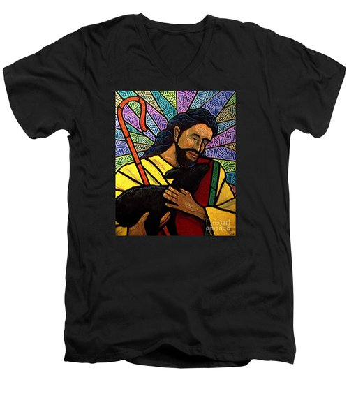 Men's V-Neck T-Shirt featuring the painting The Good Shepherd - Practice Painting One by Jim Harris
