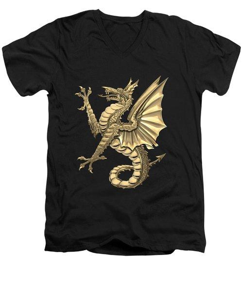 The Great Dragon Spirits - Gold Sea Dragon Over Black Canvas Men's V-Neck T-Shirt