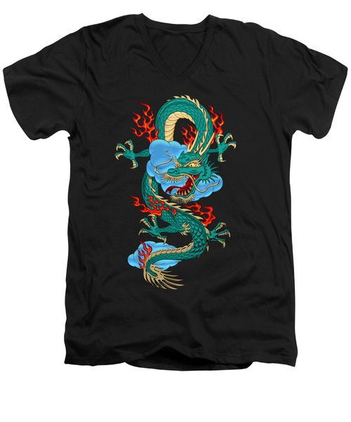 The Great Dragon Spirits - Turquoise Dragon On Black Silk Men's V-Neck T-Shirt
