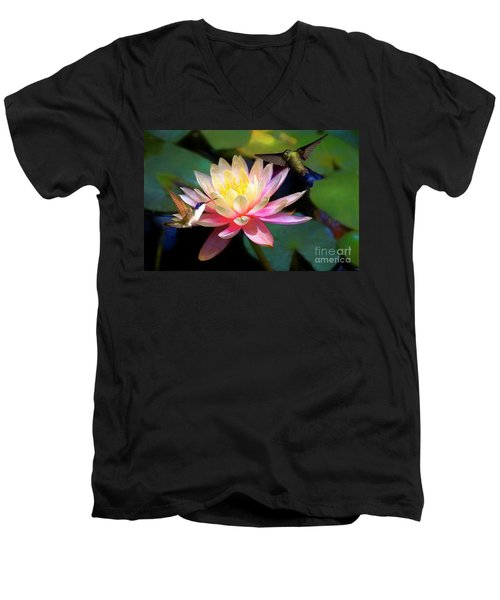 The Grutas Water Lillie With Hummingbirds Men's V-Neck T-Shirt