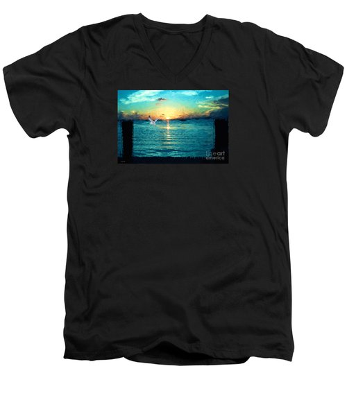 Men's V-Neck T-Shirt featuring the painting The Gull by Judy Kay