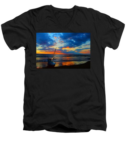 The Hawaiian Sailboat Men's V-Neck T-Shirt by Michael Rucker