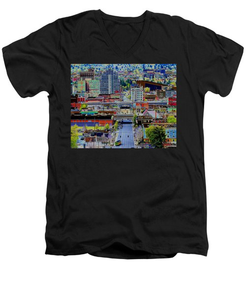 The Heart Of Downtown Spokane  Men's V-Neck T-Shirt