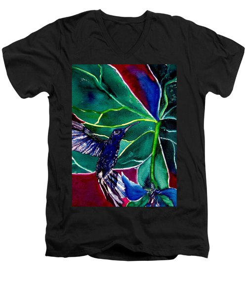 The Hummingbird And The Trillium Men's V-Neck T-Shirt by Lil Taylor