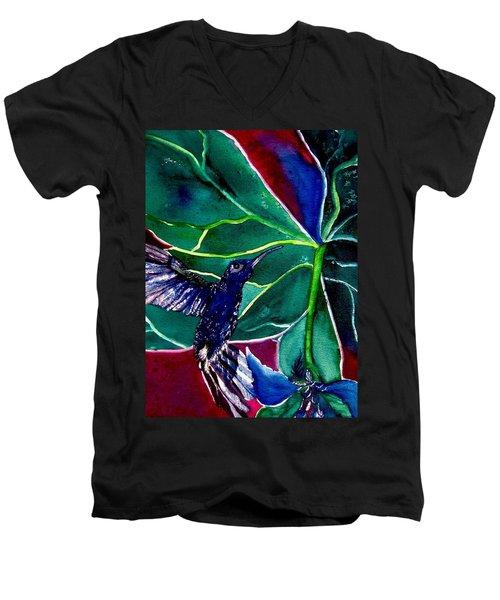 The Hummingbird And The Trillium Men's V-Neck T-Shirt