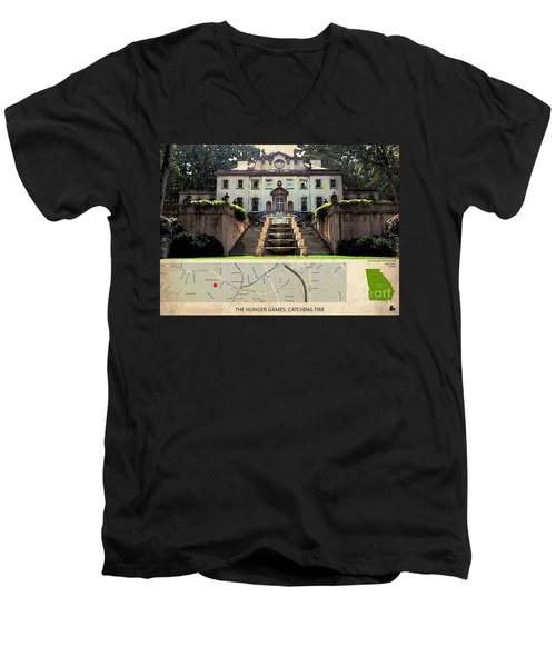 The Hunger Games Catching Fire Movie Location And Map Men's V-Neck T-Shirt by Pablo Franchi