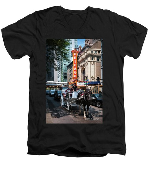 The Iconic Chicago Theater Sign And Traffic On State Street Men's V-Neck T-Shirt