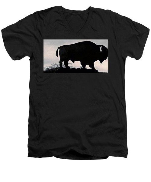 Men's V-Neck T-Shirt featuring the photograph The Iron Buffalo Push by John Glass