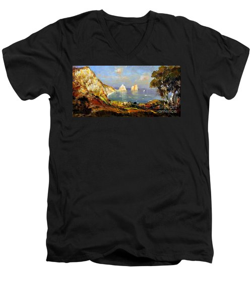 Men's V-Neck T-Shirt featuring the painting The Island Of Capri And The Faraglioni by Rosario Piazza
