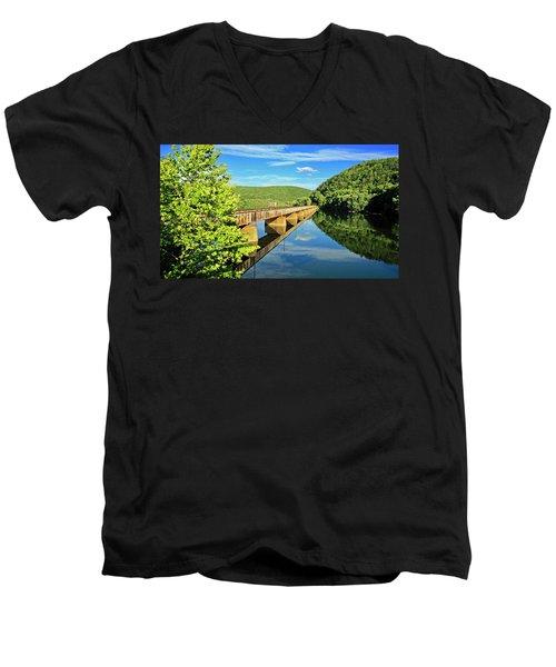 The James River Trestle Bridge, Va Men's V-Neck T-Shirt