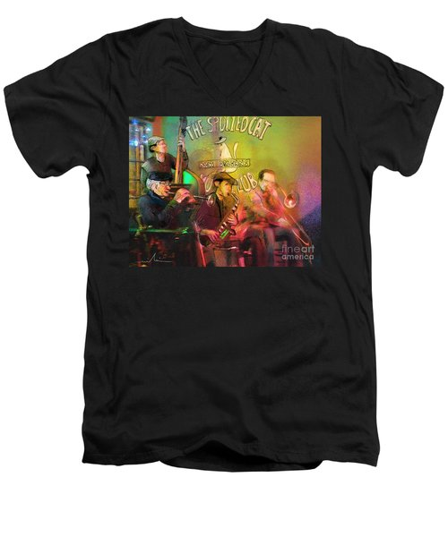 The Jazz Vipers In New Orleans 02 Men's V-Neck T-Shirt by Miki De Goodaboom