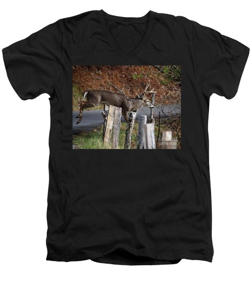 Men's V-Neck T-Shirt featuring the photograph The Jumper 2 by Douglas Stucky