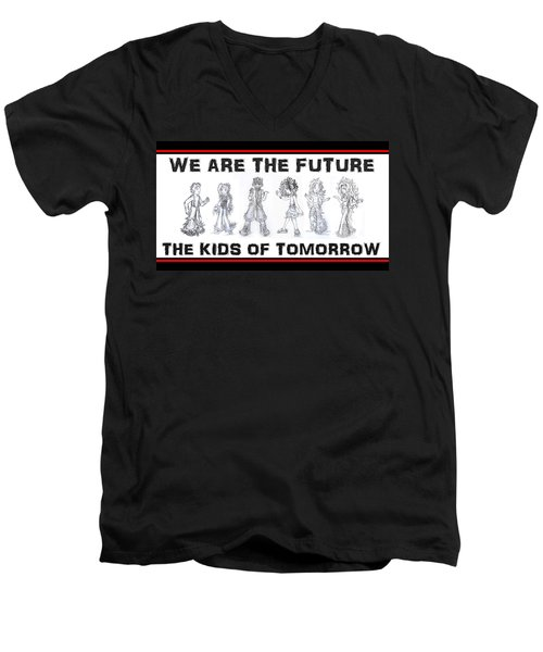 Men's V-Neck T-Shirt featuring the drawing The Kids Of Tomorrow 1 by Shawn Dall
