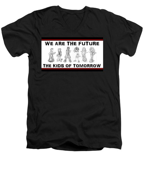 Men's V-Neck T-Shirt featuring the drawing The Kids Of Tomorrow 2 by Shawn Dall