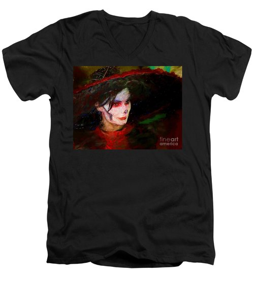 The Lady In Red Men's V-Neck T-Shirt