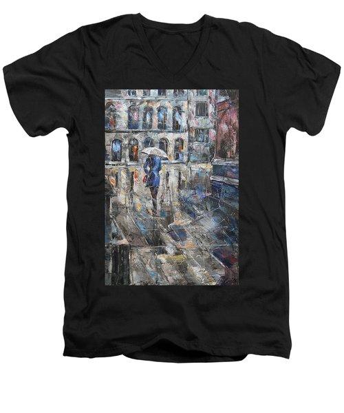 The Lady In Blue Men's V-Neck T-Shirt