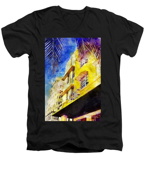 The Leslie Hotel South Beach Men's V-Neck T-Shirt by Jon Neidert