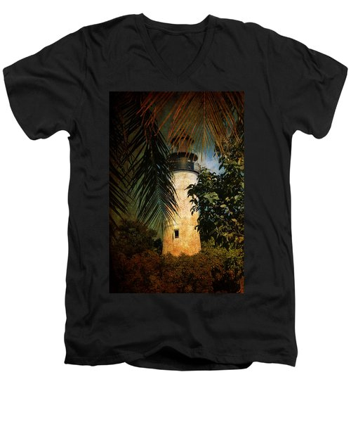The Lighthouse In Key West Men's V-Neck T-Shirt