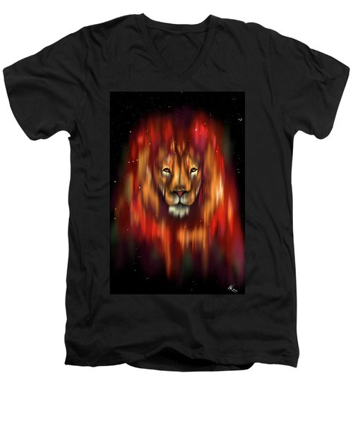 The Lion, The Bull And The Hunter Men's V-Neck T-Shirt