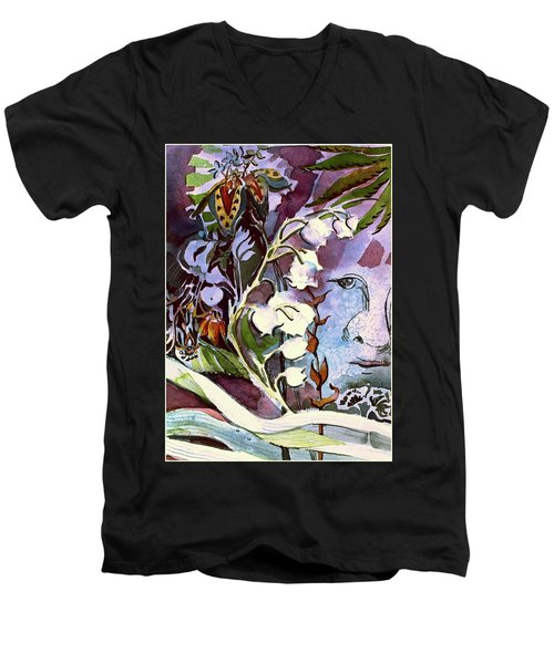 Men's V-Neck T-Shirt featuring the painting The Little Gardener by Mindy Newman