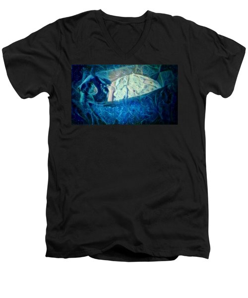 The Little Prince Floating In Box On A Sea Of Dreams With Chaotic Swirls And Waves Of Thought Hope Love And Freedom Portrait Of A Boy Sleeping In A Cardboard Box On An Ocean Of Inspiration Men's V-Neck T-Shirt by MendyZ