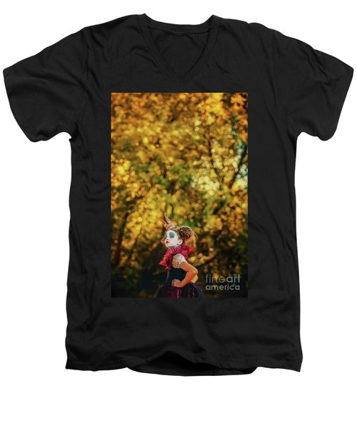 Men's V-Neck T-Shirt featuring the photograph The Little Queen Of Hearts Alice In Wonderland by Dimitar Hristov
