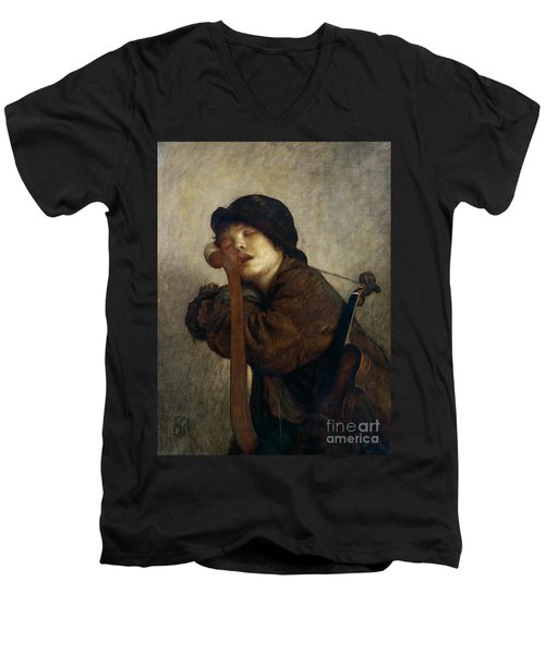 The Little Violinist Sleeping Men's V-Neck T-Shirt