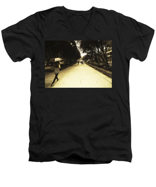 The Long Walk Men's V-Neck T-Shirt by Patrick Kain