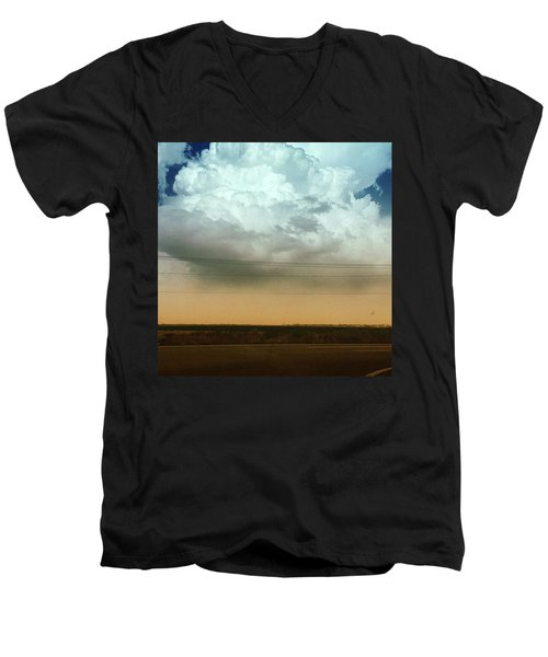 The Dust Covering The M Mountain  Men's V-Neck T-Shirt
