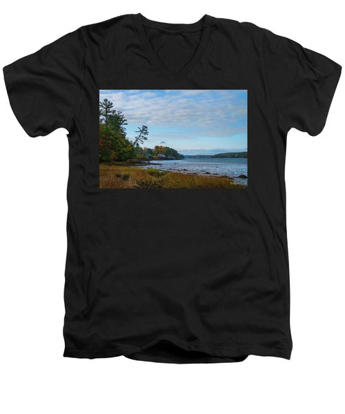 Men's V-Neck T-Shirt featuring the photograph The Maine Coast Near Edgecomb  by Tim Kathka
