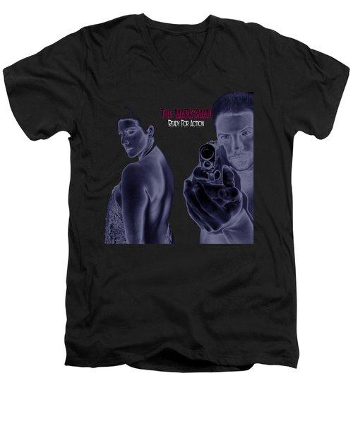 The Marksman - Ready For Action Men's V-Neck T-Shirt by Mark Baranowski