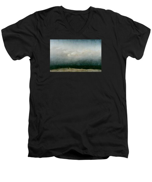 Monk By The Sea  Men's V-Neck T-Shirt