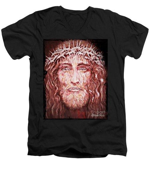 The Most Loved Jesus Christ Men's V-Neck T-Shirt by AmaS Art