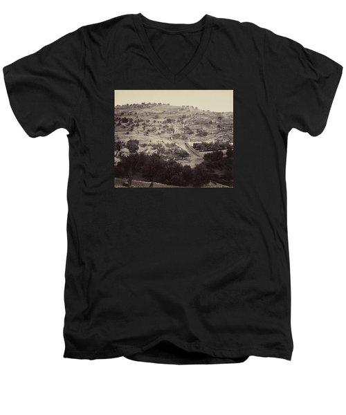 The Mount Of Olives And Garden Of Gethsemane Men's V-Neck T-Shirt