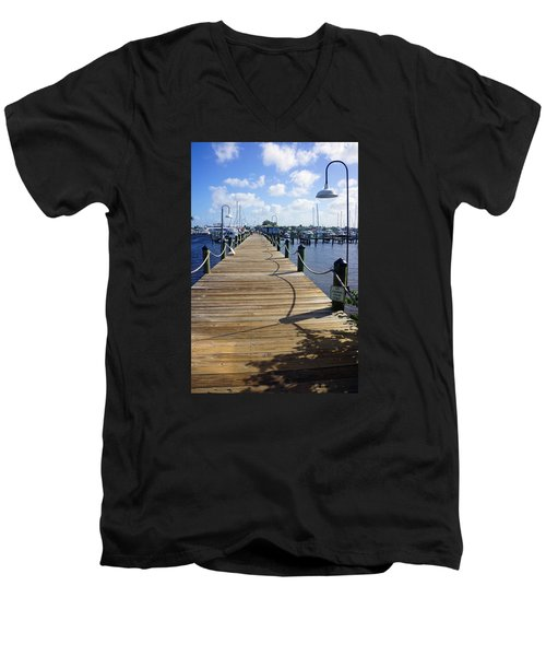 Men's V-Neck T-Shirt featuring the photograph The Naples City Dock by Robb Stan