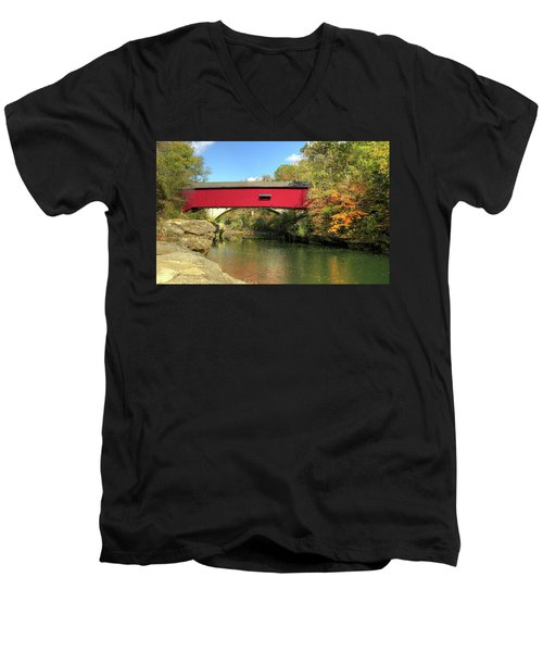 Men's V-Neck T-Shirt featuring the photograph The Narrows Covered Bridge - Sideview by Harold Rau