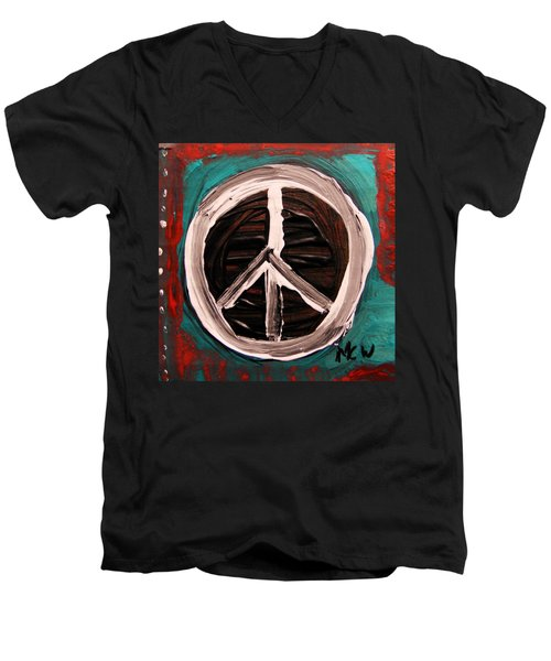 Men's V-Neck T-Shirt featuring the painting The Need Continues by Mary Carol Williams