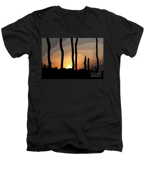 The New Dawn Men's V-Neck T-Shirt by Tom Cameron