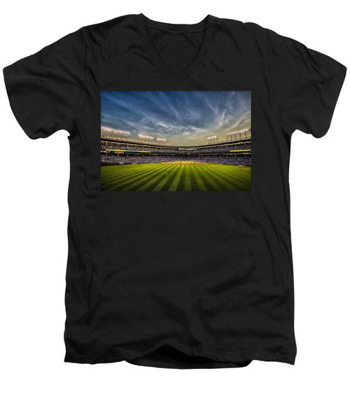 The New Wrigley Field With Pretty Sunset Sky Men's V-Neck T-Shirt