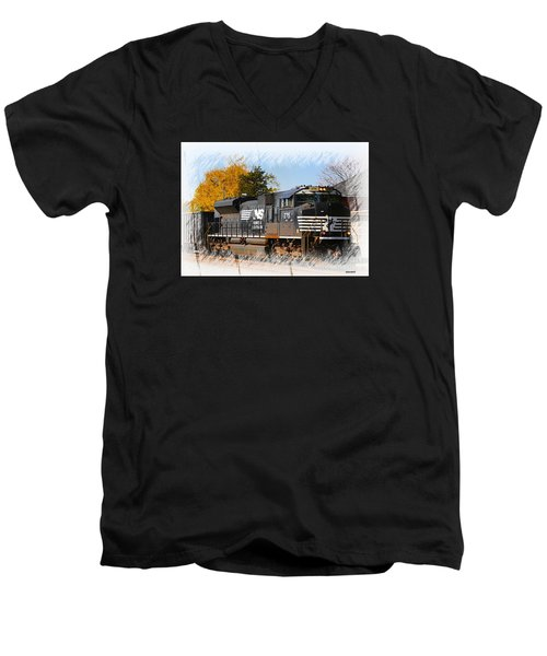 Men's V-Neck T-Shirt featuring the photograph The Norfolk Southern by Robert Pearson