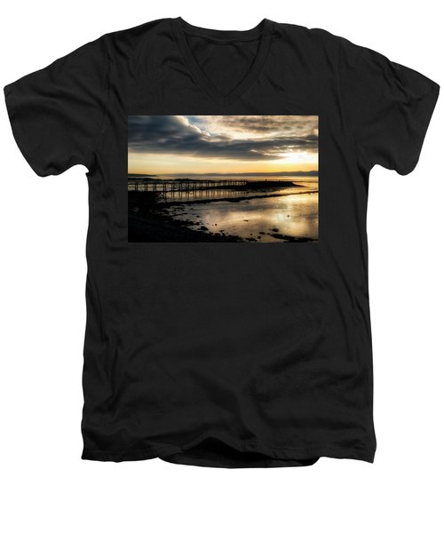 The Old Pier In Culross, Scotland Men's V-Neck T-Shirt