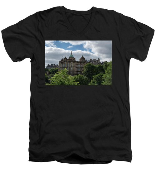 Men's V-Neck T-Shirt featuring the photograph The Old Town In Edinburgh by Jeremy Lavender Photography
