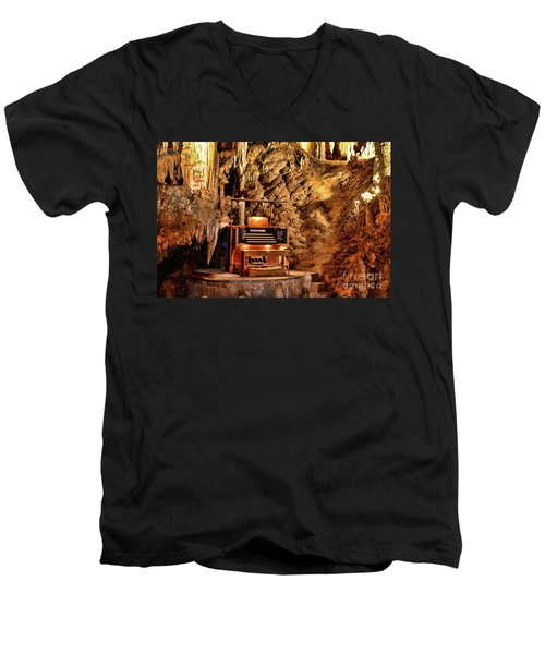 Men's V-Neck T-Shirt featuring the photograph The Organ In Luray Caverns by Paul Ward