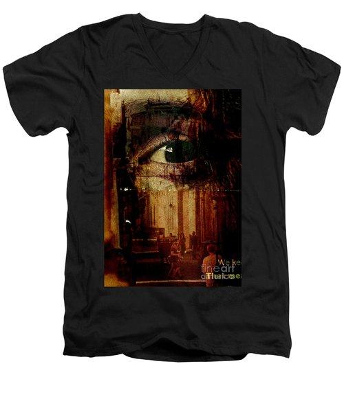 The Overseer Men's V-Neck T-Shirt by Michael Cinnamond
