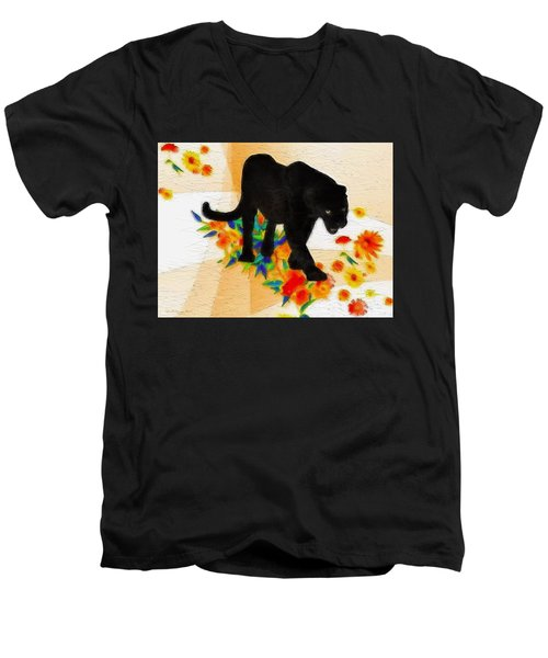 The Panther In The Flowerbed Men's V-Neck T-Shirt