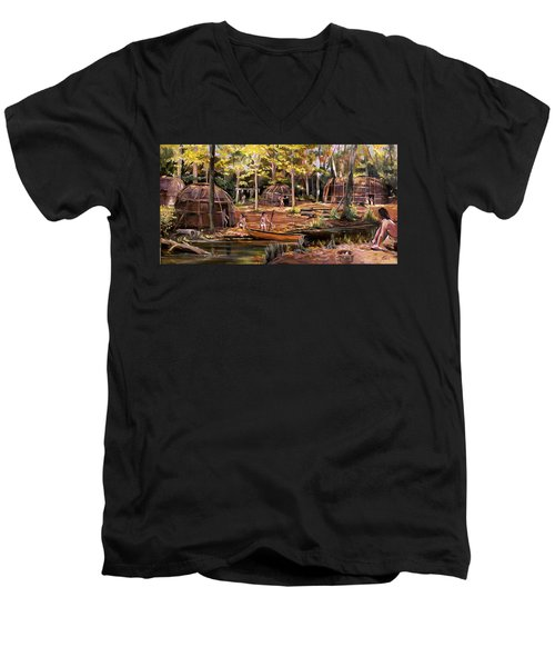 Men's V-Neck T-Shirt featuring the painting The Pequots by Nancy Griswold