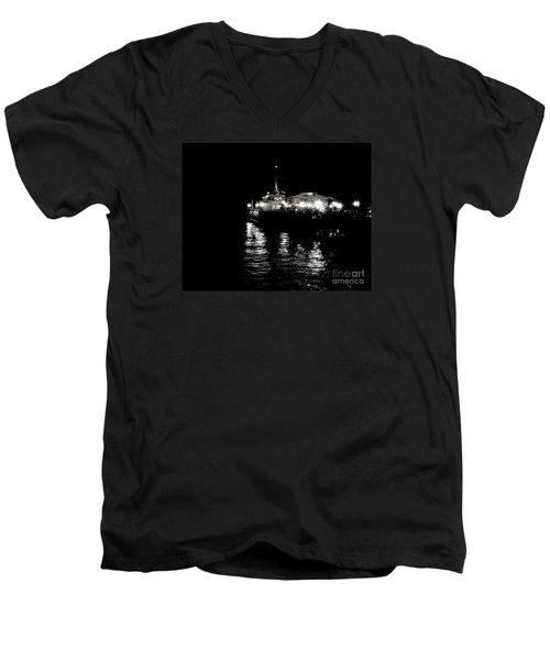 Men's V-Neck T-Shirt featuring the photograph The Pier by Vanessa Palomino