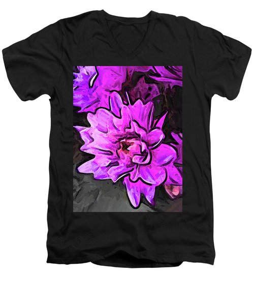 The Pink And Lavender Flowers On The Grey Surface Men's V-Neck T-Shirt