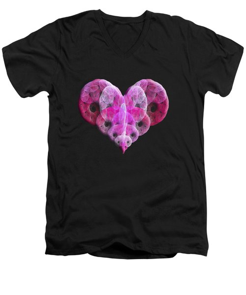 Men's V-Neck T-Shirt featuring the digital art The Pink Heart by Andee Design