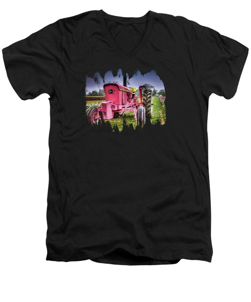 Men's V-Neck T-Shirt featuring the photograph The Pink Tractor At The Wooden Shoe Tulip Farm by Thom Zehrfeld